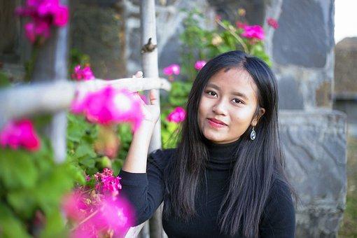 Asian Girl, Asian Women, Tribal Girl, Outdoors, Flower