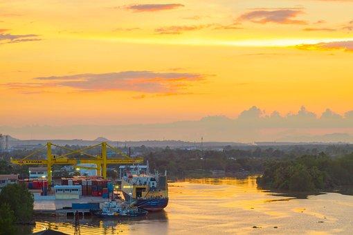 Nam Surat Thani, River, Harbor, View, Sky, Bright