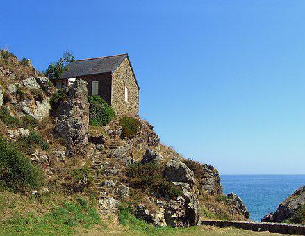 House, Rock, Side, Sea, Nature, Pierre, Brittany