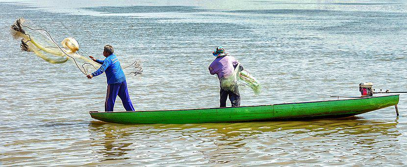 Mekong, River, Fishing, Laos, Small, Boat, Green, Water