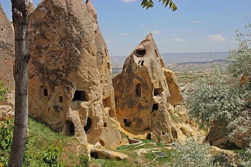 Turkey, Cappadocia, Rock Apartments, Mountains, Tufa