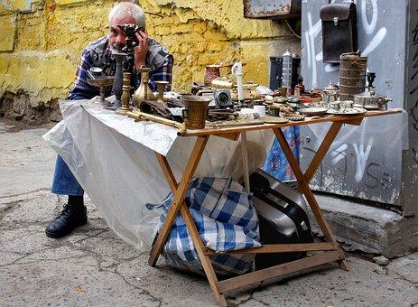 Street, Antiques, Old, Items, Stall, Lviv, Ukraine