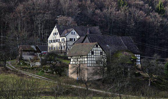 Farm, Barn, Truss, Aussiedlerhof, Hamlet, Morning