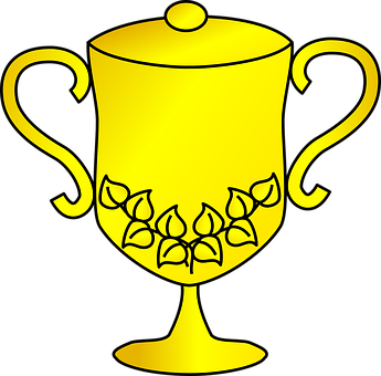 Trophy, Gold, Cup, Yellow, Pattern, Leaf, Handles