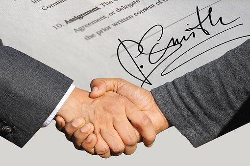 Signature, Contract, Shaking Hands, Handshake