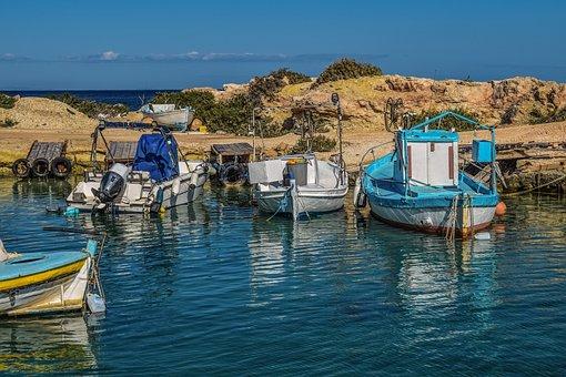 Cyprus, Protaras, Fishing Shelter, Boats, Harbor, Sea