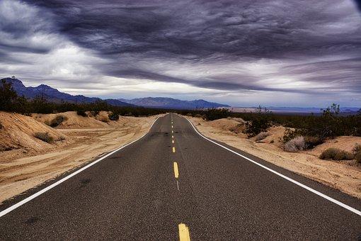 Road, Highway, Asphalt, Desert, Travel, Sky, Landscape