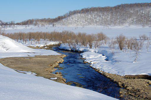 River, Mountains, Volcanoes, Forest, Winter, Hot Spring