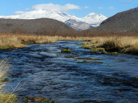 River, Mountains, Volcanoes, Winter, Hot Spring, Nature