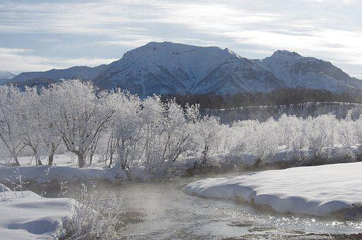 Winter, River, Frost, Leann, Rime, Snow, Ice, Mountains