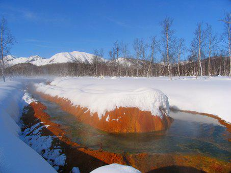 Winter, Mountains, Snow, Snowdrifts, Hot Spring, Pairs
