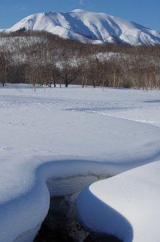 Winter, Snow, Snowdrifts, Mountains, Creek, Forest