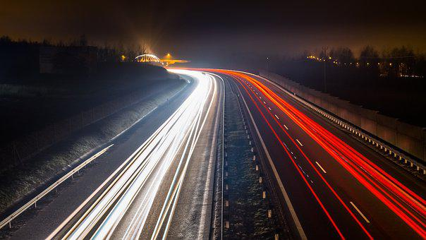 Traffic, Highway, Transport, Speed, Car, Quickly, Lit