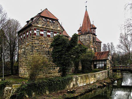 Moated Castle, Water, Bridge, Gatehouse, Historically