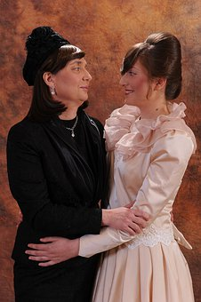 Woman, People, Adult, Two, Portrait, Dress, Wedding