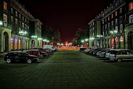 Nowa Huta, Street, City, Travel, Lit, Car