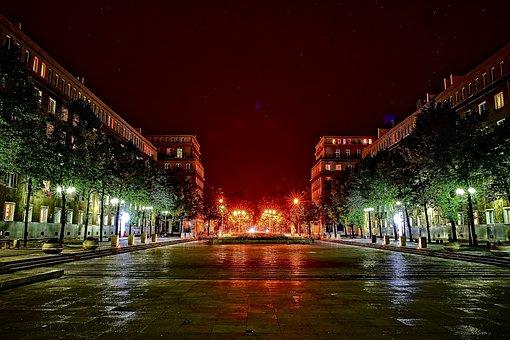 Nowa Huta, Alley Rose, Lit, City, Street, Light, Travel