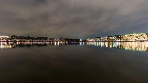 Waters, River, Reflection, Dawn, Alster, Hamburg