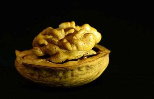 Walnut, Nut, Seeds, Nuclear, Eat, Half, Cut In Half