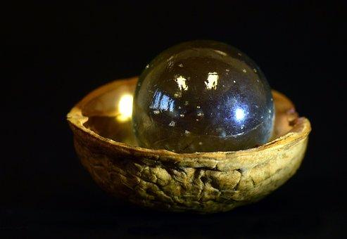 Marble, Nutshell, Walnut Shell, Glass, Wood, Small