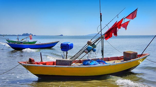 Fishing, Boats, Red, Flag, Markers, Water, Sea, Boat