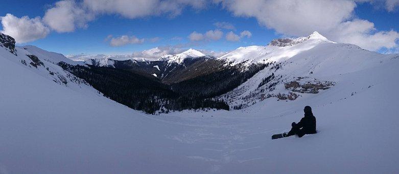 Snow, Mountain, Winter, Panoramic, Ice, Snowboarding