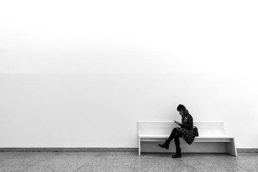 Women, Lay, Monochrome, Loneliness, One, Wall