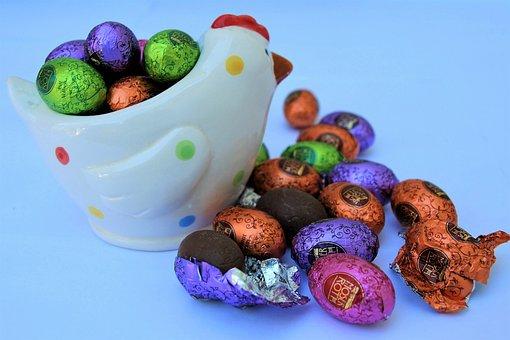 Eggs, Chocolate, Eating, The Hen, Porcelain, Dessert