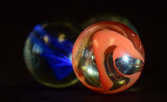 Marble, About, Marbles, Red, Blue, Roll, Glass