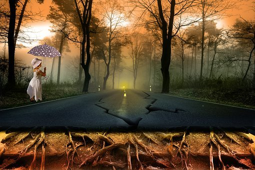 Road, Girl, Nature, Tree, Roots, Roots Of Trees