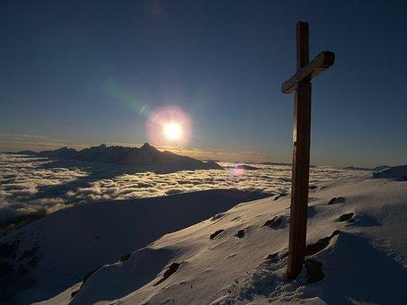 Sky, The Sun, Sunset, Landscape, Cross, La Salette