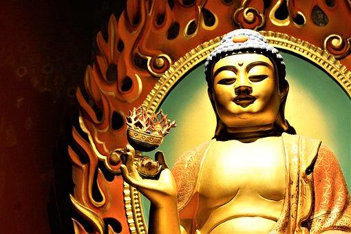 Golden, Art, Sculpture, Buddha, Traditionally, Culture