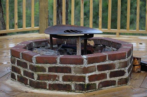 Brick, Fireplace, Wall, Stone