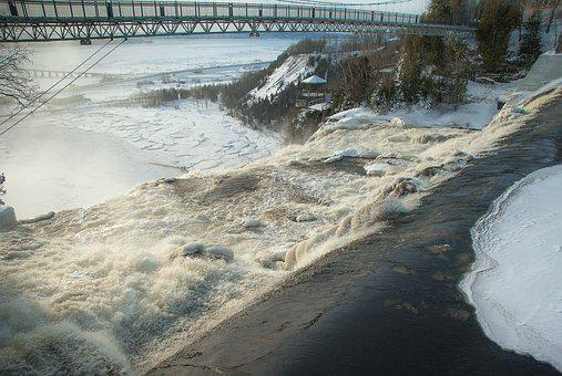 Québec, Montmorency, Waterfall, River, Bridge, Ice