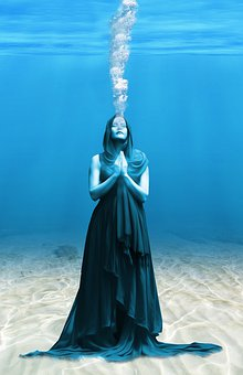 Sea, Ocean, Woman, Blue, Background, Sand, Depth
