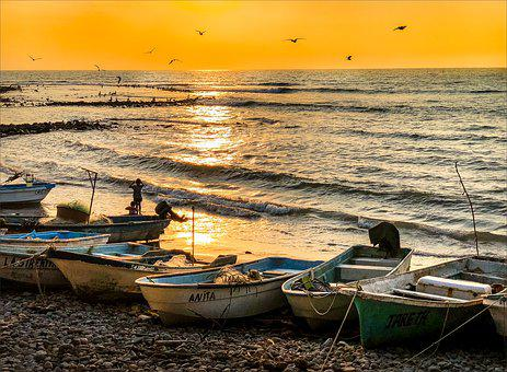 Water, Sea, Boat, Sunset, Seashore, Dawn, Sun, Beach