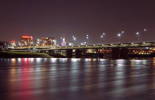 Bridge, River, City, Night, Warsaw, Wisla