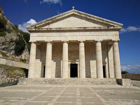 Corfu, Temple, Church, Column, Architecture, Monument
