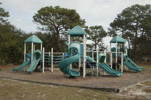 Playground, Slides, Park, Outdoors, Empty