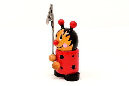 Note Holder, Wood, Ladybug, Funny, Cute, Clip