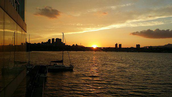 Sunset, Han River, Glow, The Evening Light, Korea