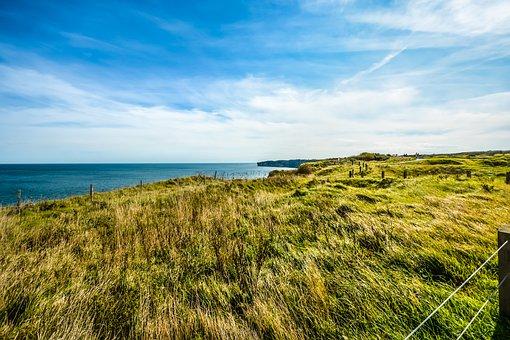 Nature, Sky, Grass, Landscape, Panoramic, Pointe Du Hoc