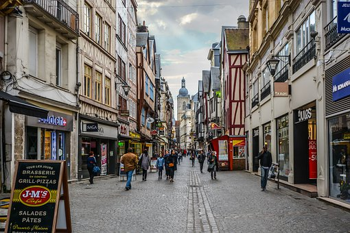 Street, City, Town, Pavement, Tourism, Rouen, France