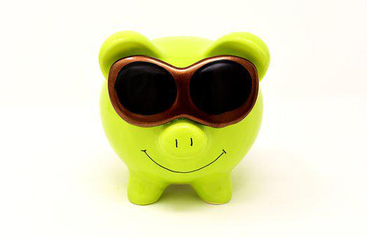 Piggy Bank, Sunglasses, Cool, Figure, Save, Ceramic
