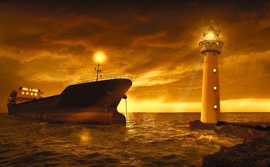 Sea, Ocean, Boat, Lighthouse, Light, Sunset, Sky Orange