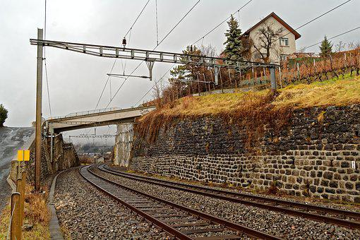 Switzerland, Vaud, Lavaux, Railway Line, Train, Railway