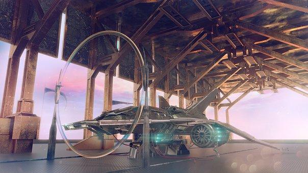 Space Port, Space Ship, Scifi, Science Fiction, Tech