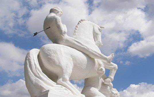 Statue Man On Horseback, 1927, Arrow In The Back