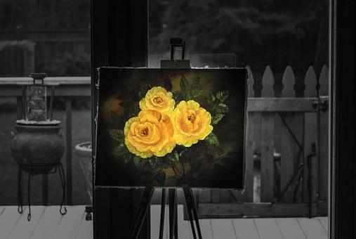 Easel, Painting, Rose, Art, Black And White, Yellow