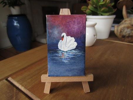 Painting, Canvas, Easel, Swan, Oil, Artist, Artistic
